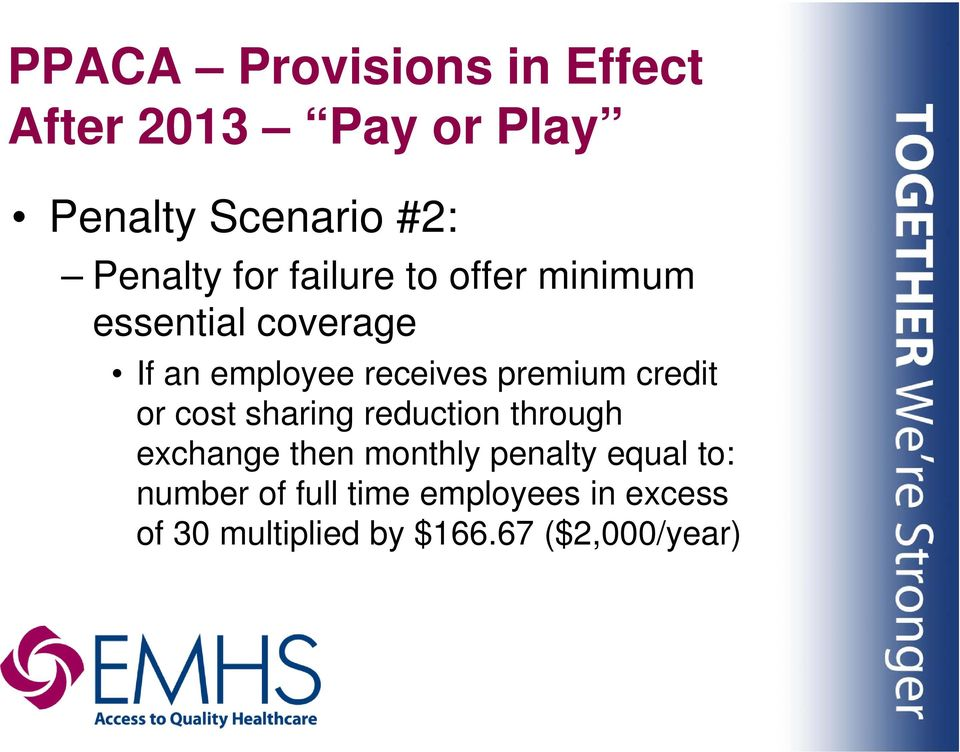 credit or cost sharing reduction through exchange then monthly penalty equal to: