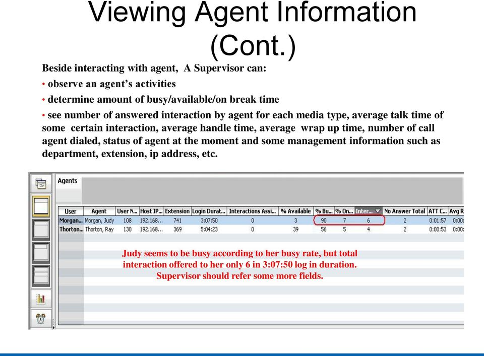 interaction by agent for each media type, average talk time of some certain interaction, average handle time, average wrap up time, number of call agent