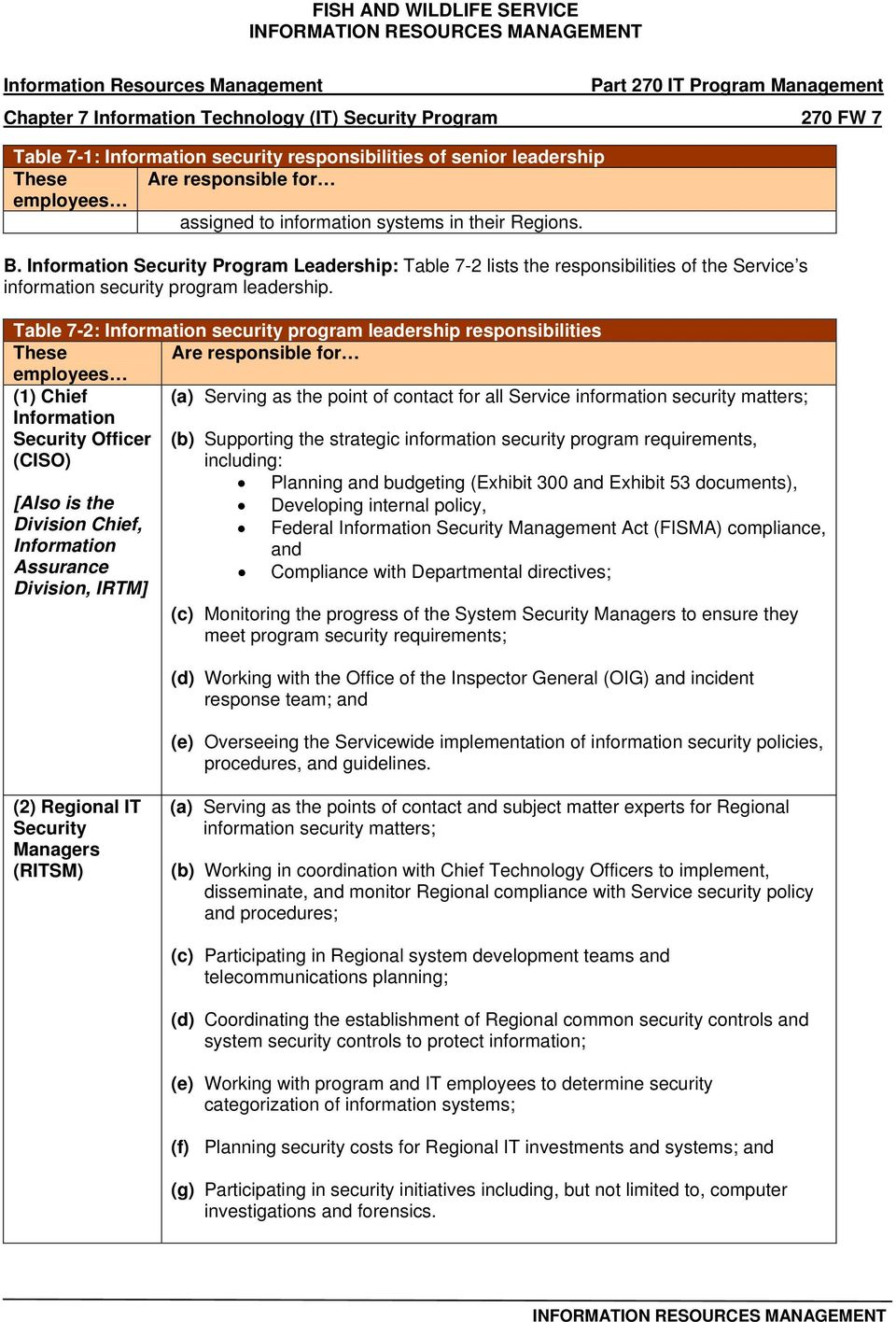 Table 7-2: security program leadership responsibilities These Are responsible for (1) Chief (a) Serving as the point of contact for all Service information security matters; Security Officer (CISO)