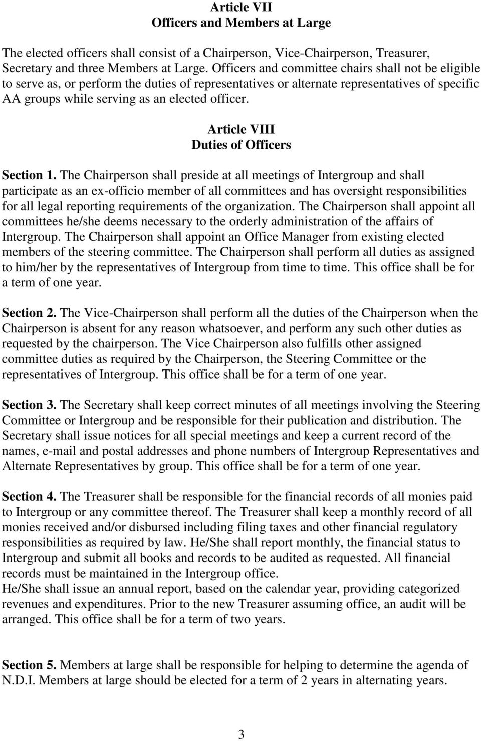 Article VIII Duties of Officers Section 1.