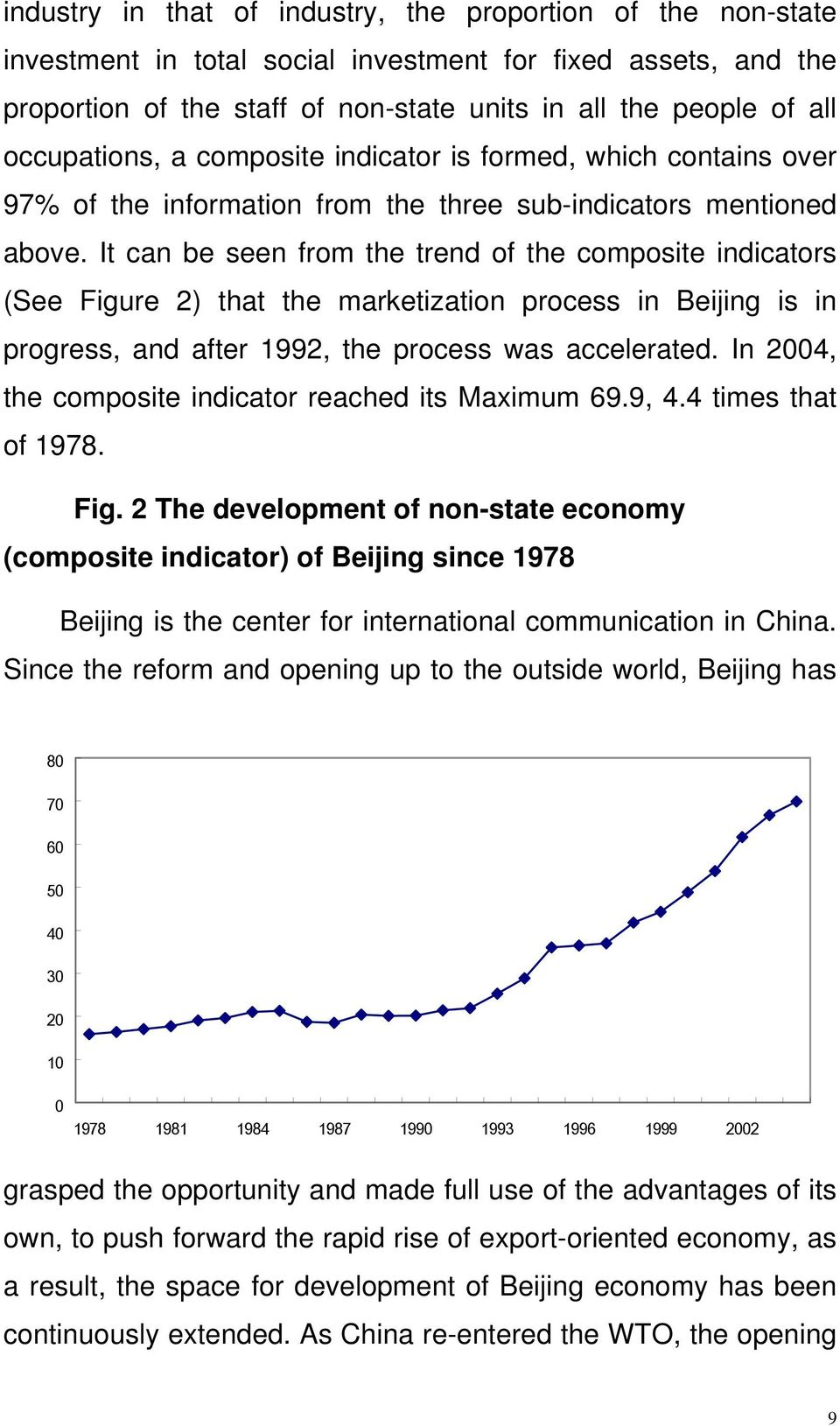 It can be seen from the trend of the composite indicators (See Figure 2) that the marketization process in Beijing is in progress, and after 1992, the process was accelerated.