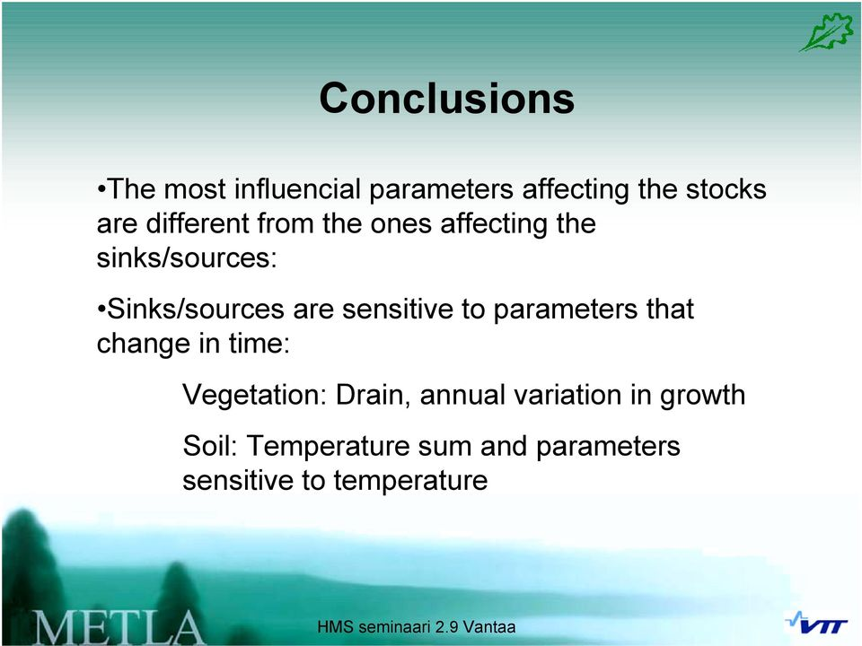 sensitive to parameters that change in time: Vegetation: Drain, annual