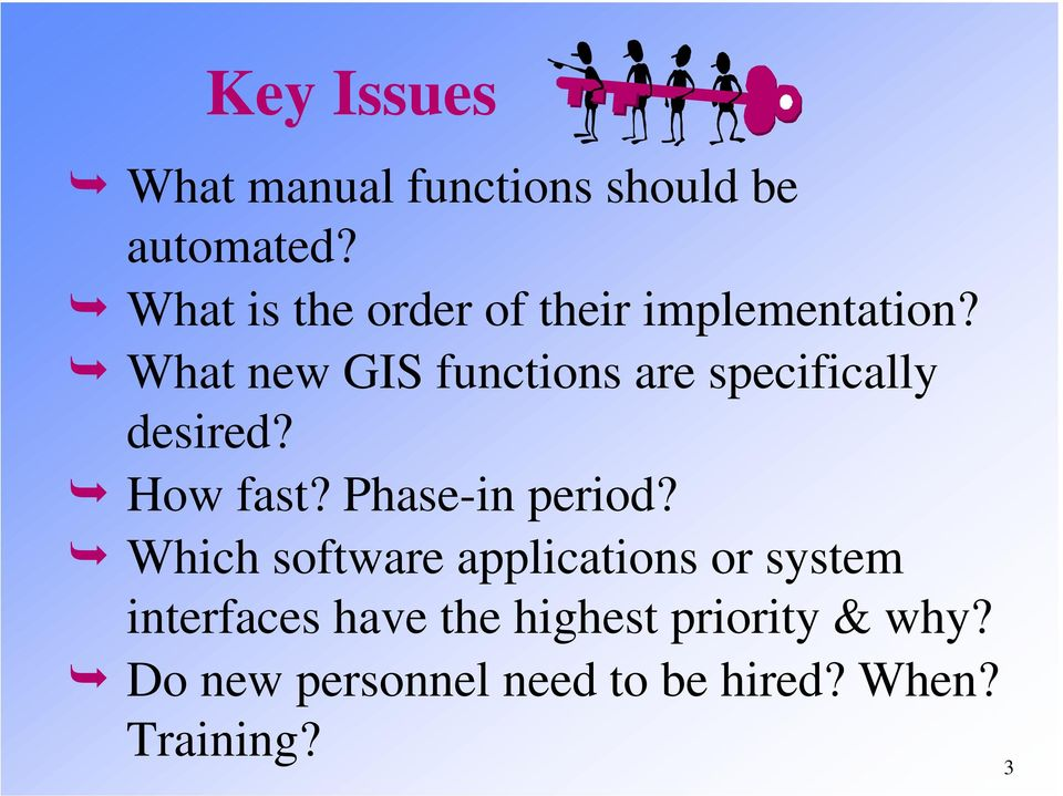 What new GIS functions are specifically desired? How fast? Phase-in period?