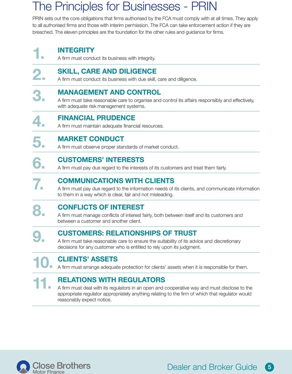 The eleven principles are the foundation for the other rules and guidance for fi rms. 1. 2. 3. 4. 5. 6. 7. 8. 9. 10. 11. INTEGRITY A fi rm must conduct its business with integrity.