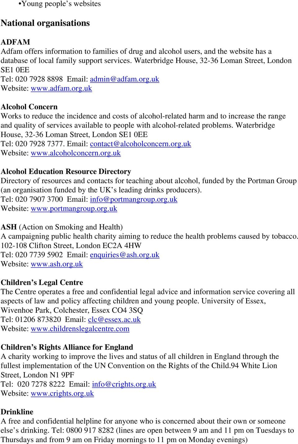 uk Website: www.adfam.org.