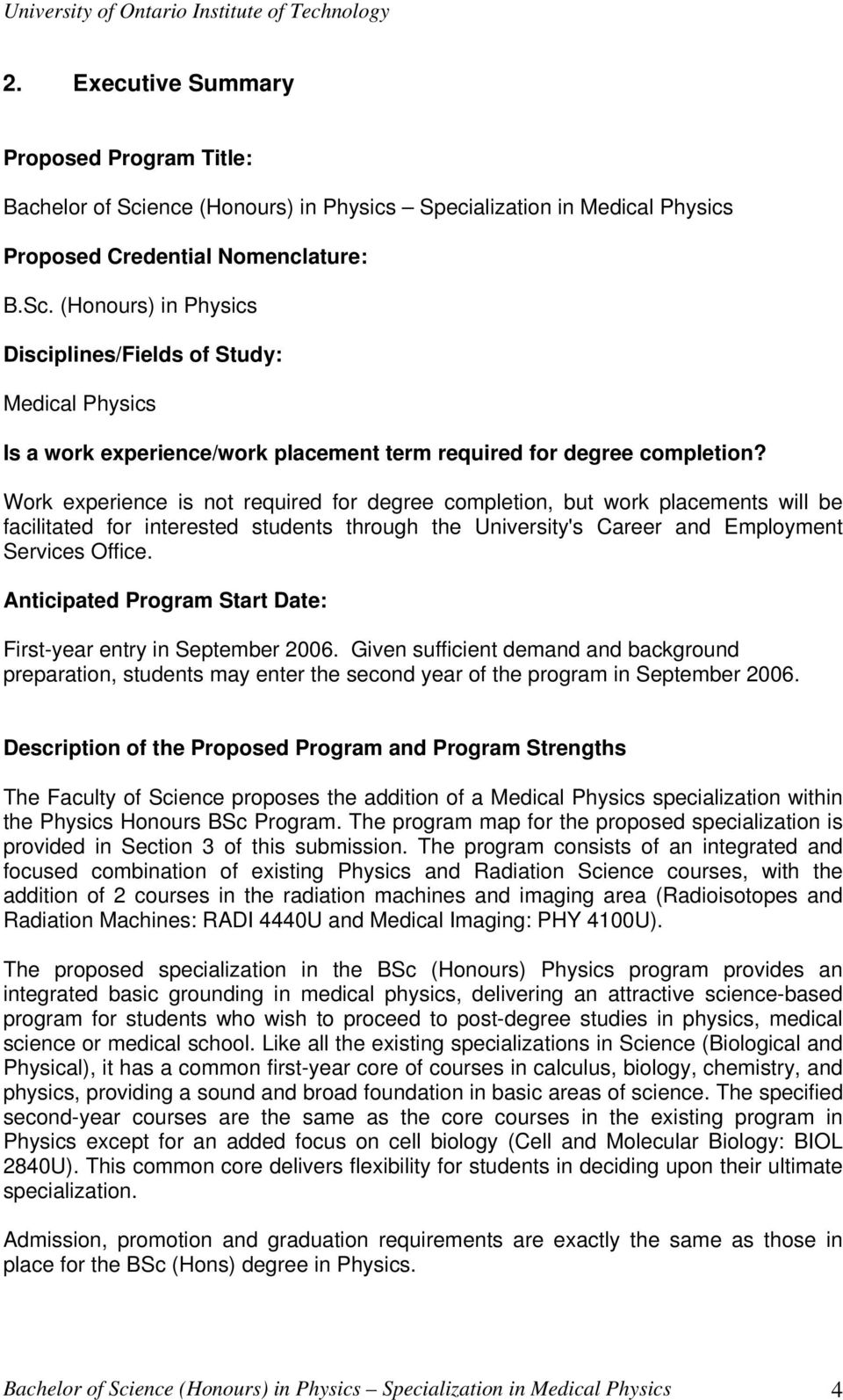 Bachelor of Science in Physics (Honours) with specialization
