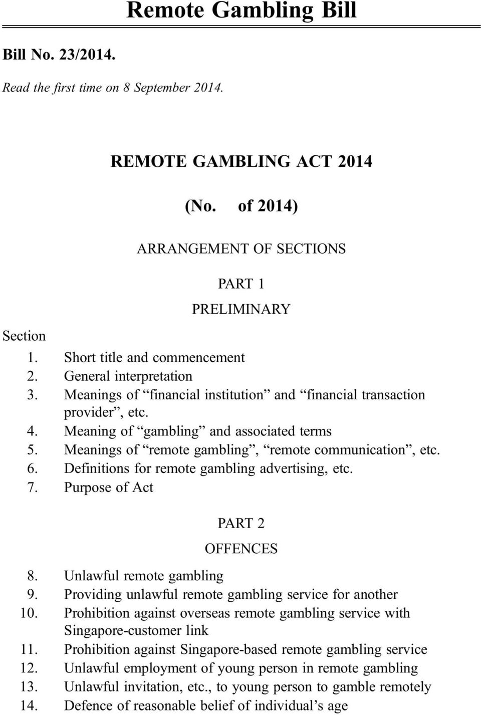 Meanings of remote gambling, remote communication, etc. 6. Definitions for remote gambling advertising, etc. 7. Purpose of Act PART 2 OFFENCES 8. Unlawful remote gambling 9.