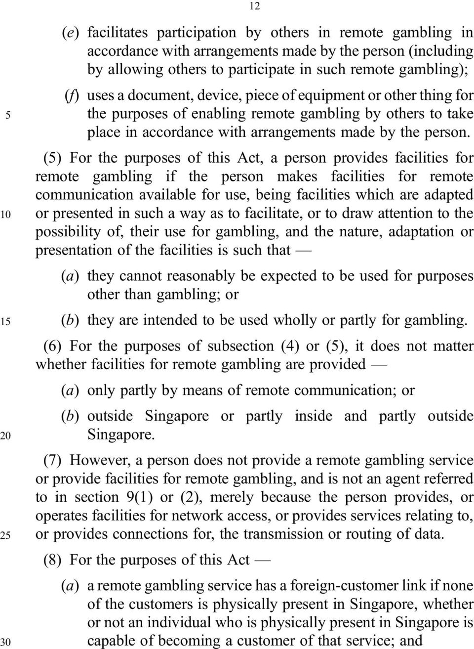 (5) For the purposes of this Act, a person provides facilities for remote gambling if the person makes facilities for remote communication available for use, being facilities which are adapted 10 or