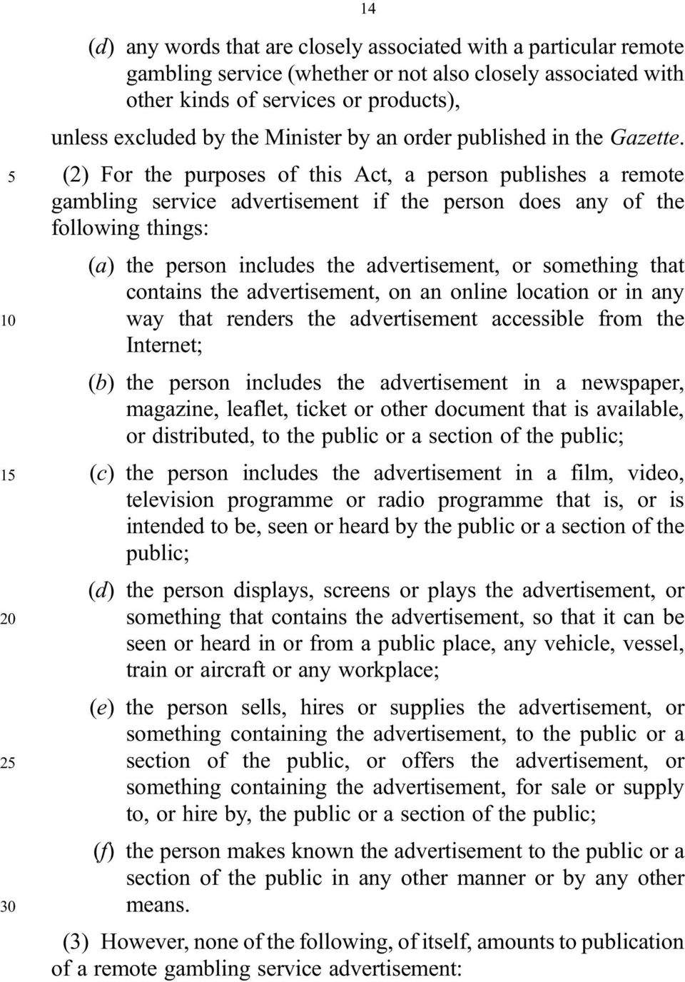 5 (2) For the purposes of this Act, a person publishes a remote gambling service advertisement if the person does any of the following things: (a) the person includes the advertisement, or something
