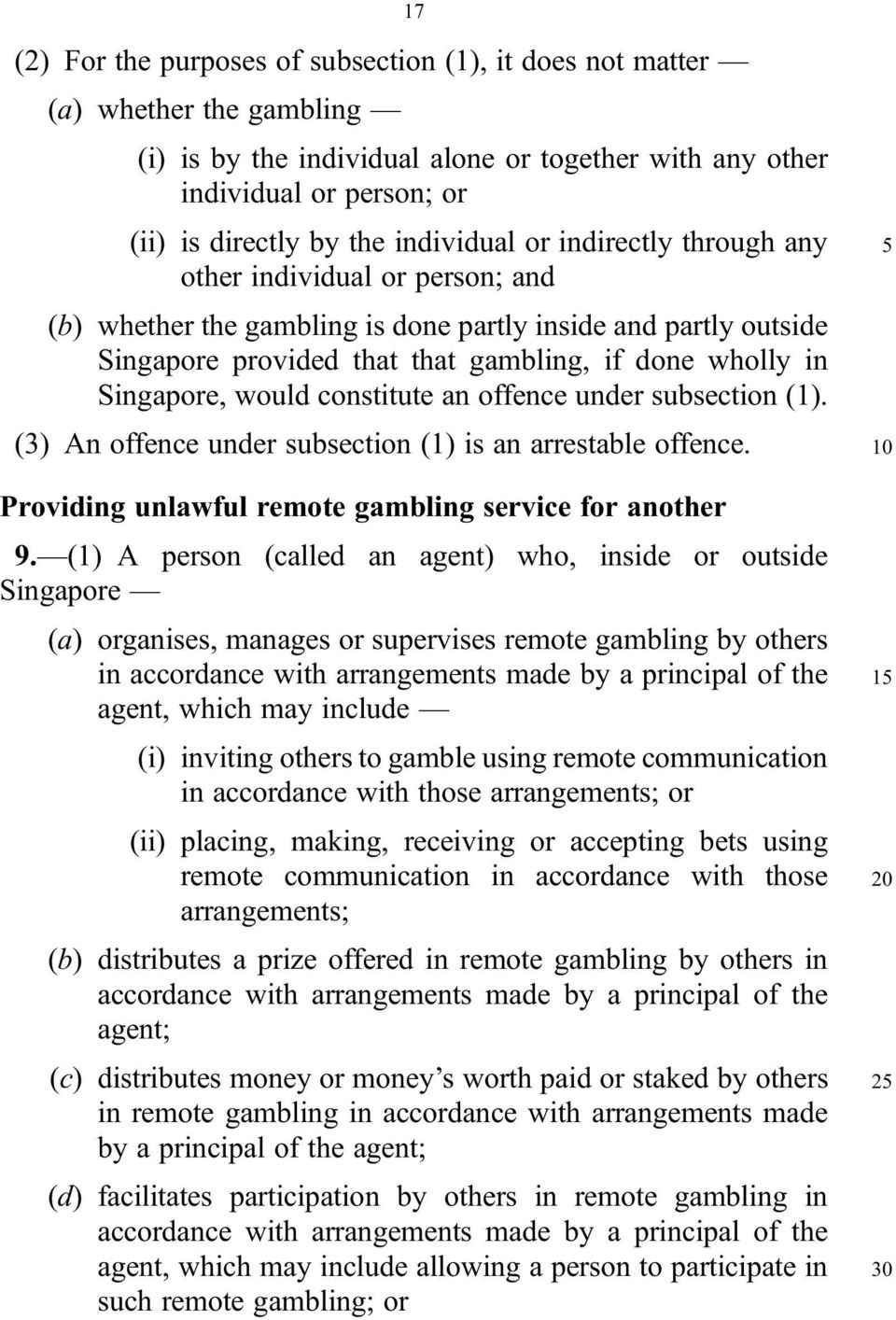 Singapore, would constitute an offence under subsection (1). (3) An offence under subsection (1) is an arrestable offence. Providing unlawful remote gambling service for another 9.