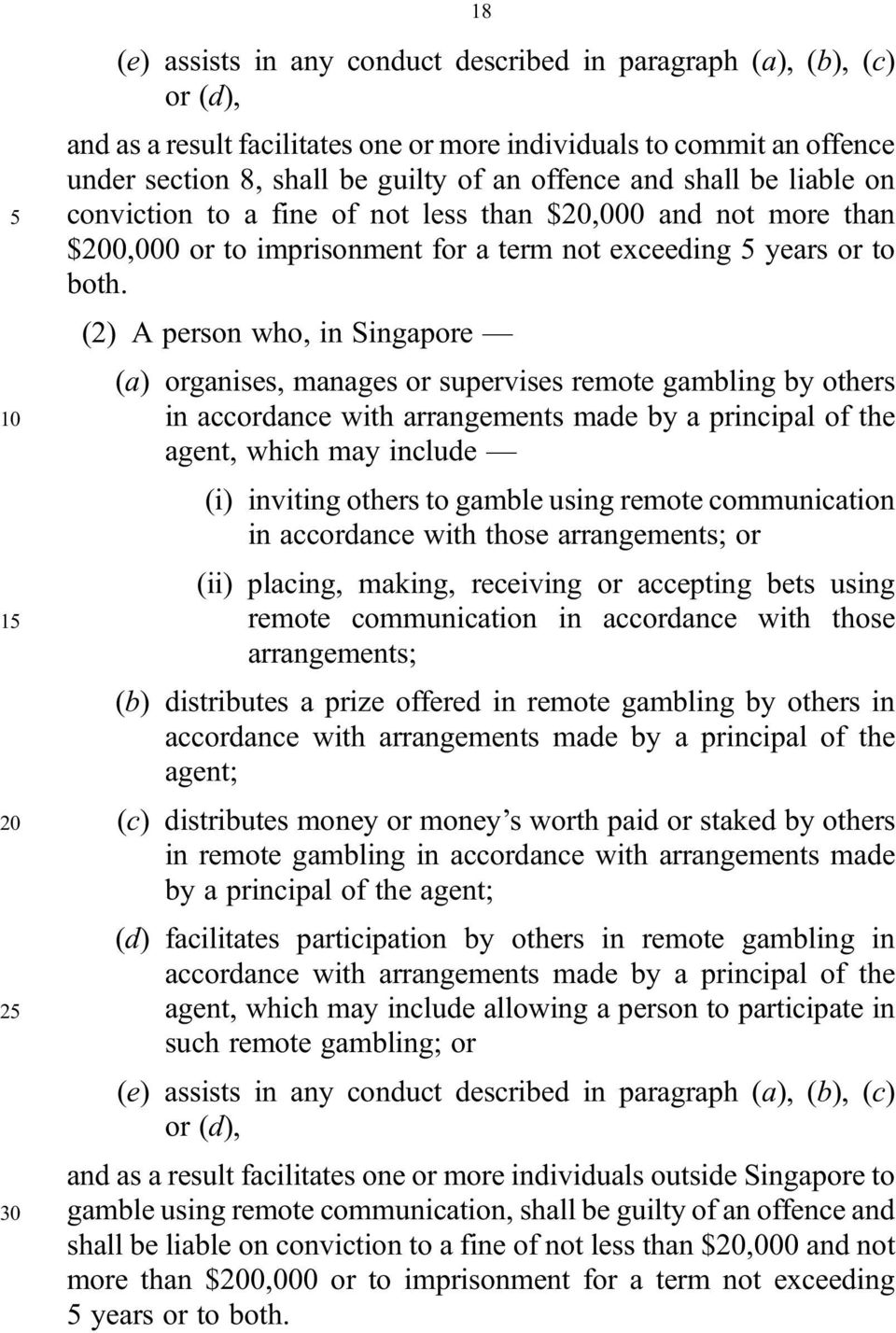 (2) A person who, in Singapore (a) organises, manages or supervises remote gambling by others 10 in accordance with arrangements made by a principal of the agent, which may include (i) inviting