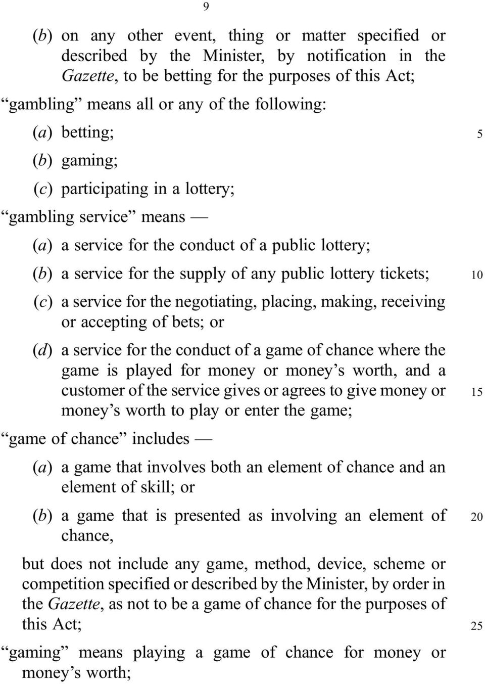 tickets; (c) a service for the negotiating, placing, making, receiving or accepting of bets; or (d) a service for the conduct of a game of chance where the game is played for money or money s worth,