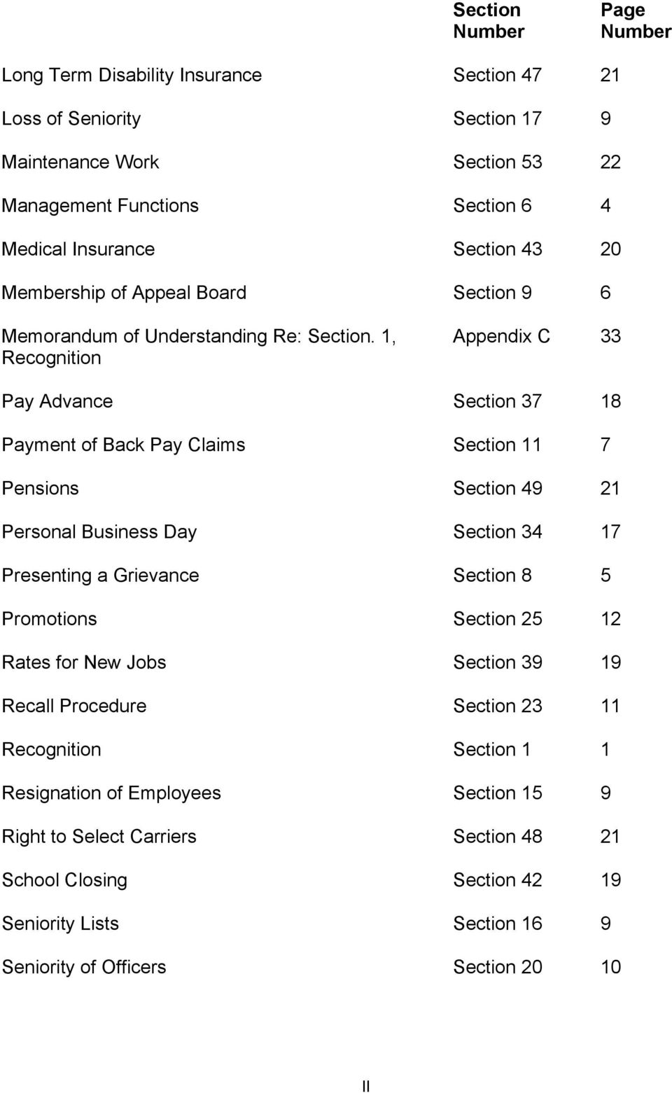 1, Recognition Appendix C 33 Pay Advance Section 37 18 Payment of Back Pay Claims Section 11 7 Pensions Section 49 21 Personal Business Day Section 34 17 Presenting a Grievance Section 8 5