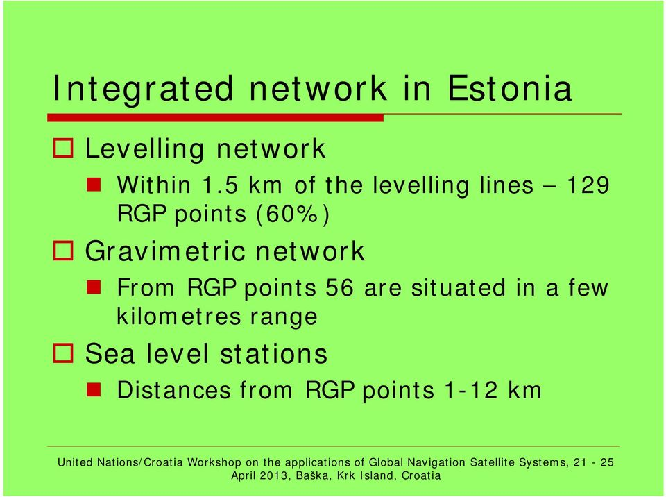 Gravimetric network From RGP points 56 are situated in a