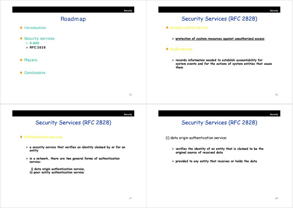 of system entities that cause them 25 26 Services (RFC 2828) Services (RFC 2828) Authentication service: (i) data origin authentication service: a security service that verifies an identity claimed