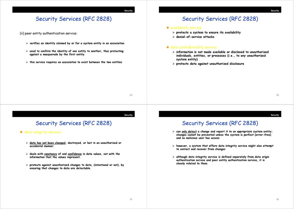 this service requires an association to exist between the two entities Services (RFC 2828) availability service protects a system to ensure its availability denial-of-service attacks data