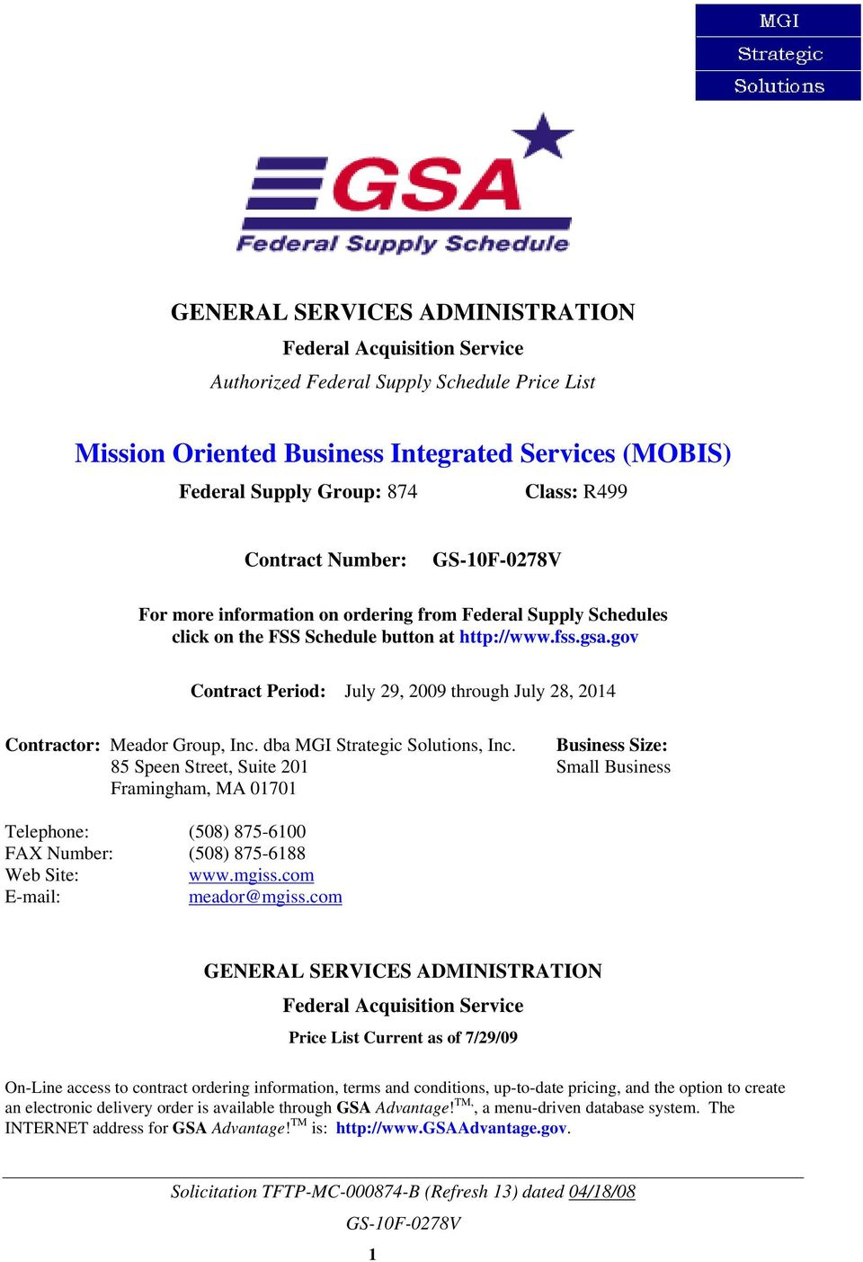 gov Contract Period: July 29, 2009 through July 28, 2014 Contractor: Meador Group, Inc. dba MGI Strategic Solutions, Inc.