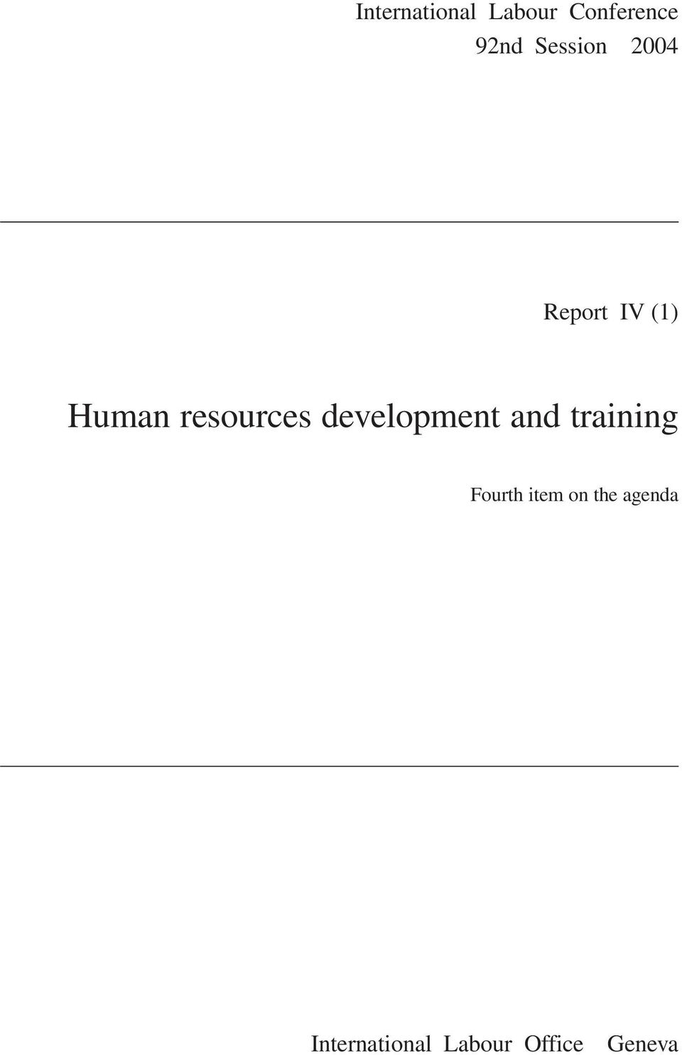 resources development and training Fourth