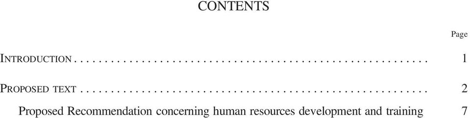 Proposed Recommendation concerning human resources