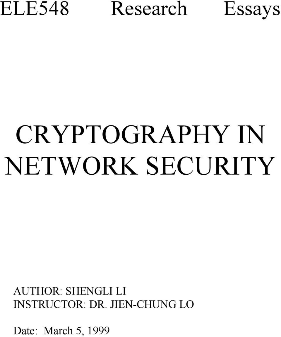 SECURITY AUTHOR: SHENGLI LI
