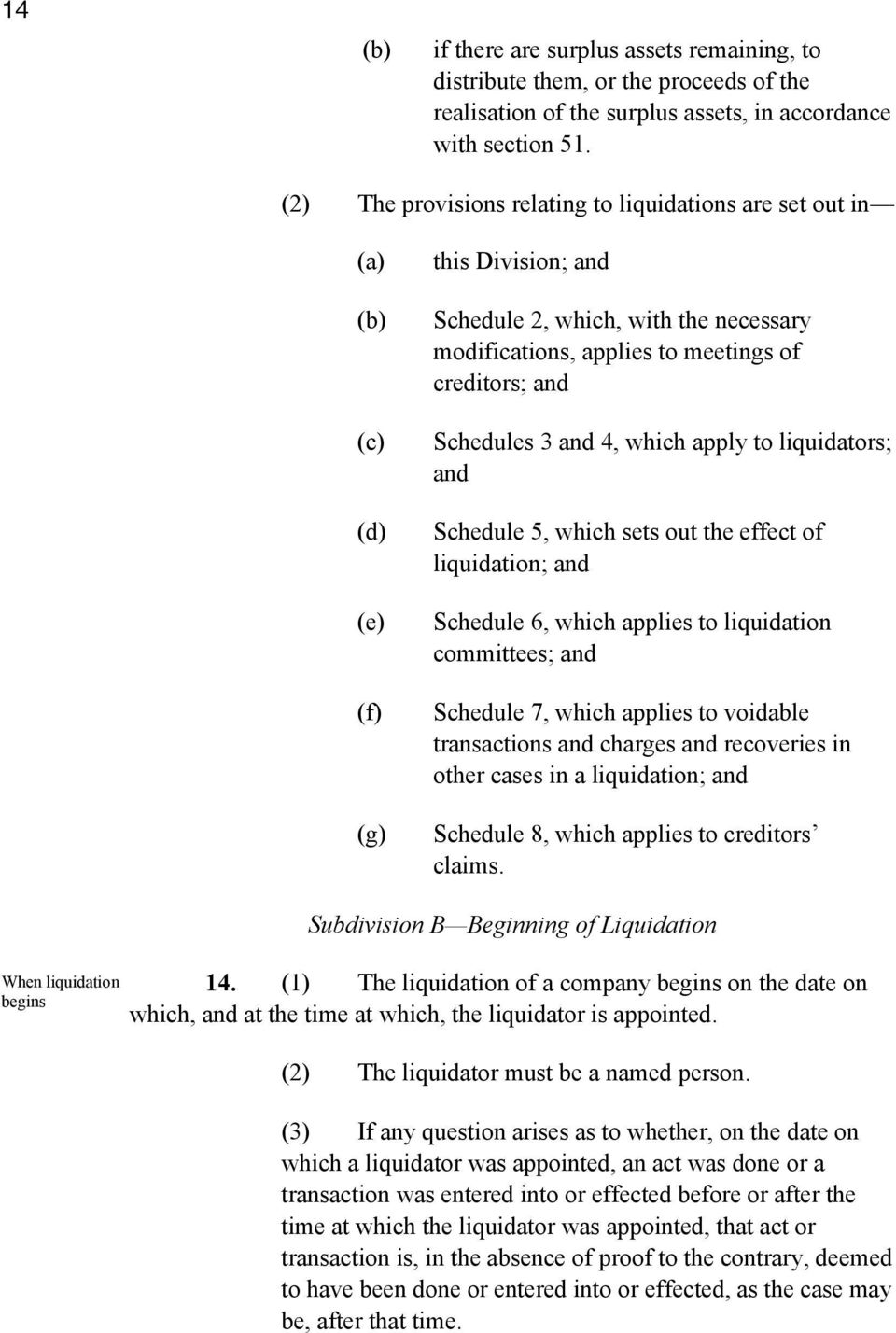 and 4, which apply to liquidators; and Schedule 5, which sets out the effect of liquidation; and Schedule 6, which applies to liquidation committees; and Schedule 7, which applies to voidable