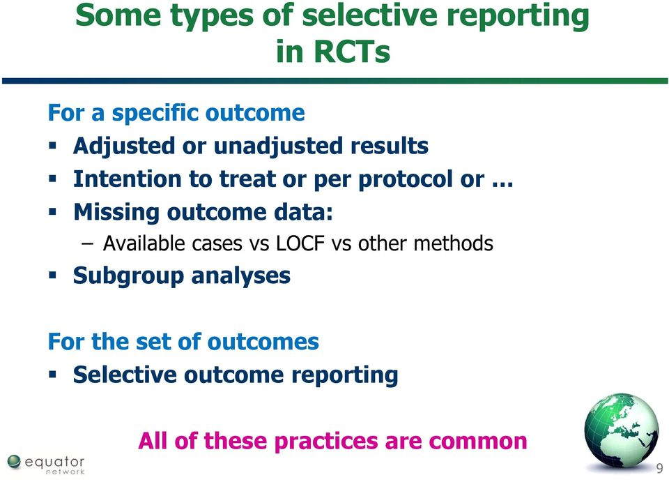 data: Available cases vs LOCF vs other methods Subgroup analyses For the
