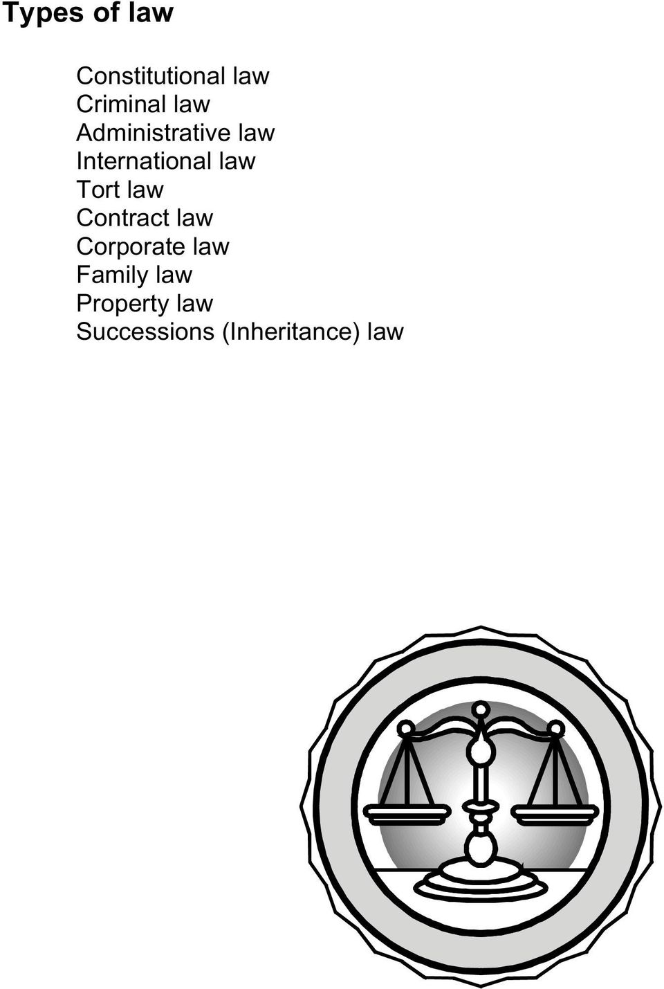 Tort law Contract law Corporate law Family