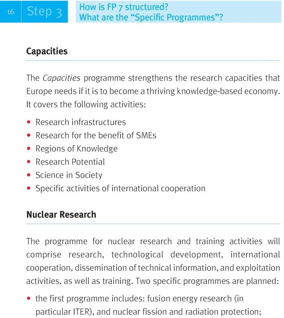 It covers the following activities: Research infrastructures Research for the benefit of SMEs Regions of Knowledge Research Potential Science in Society Specific activities of international
