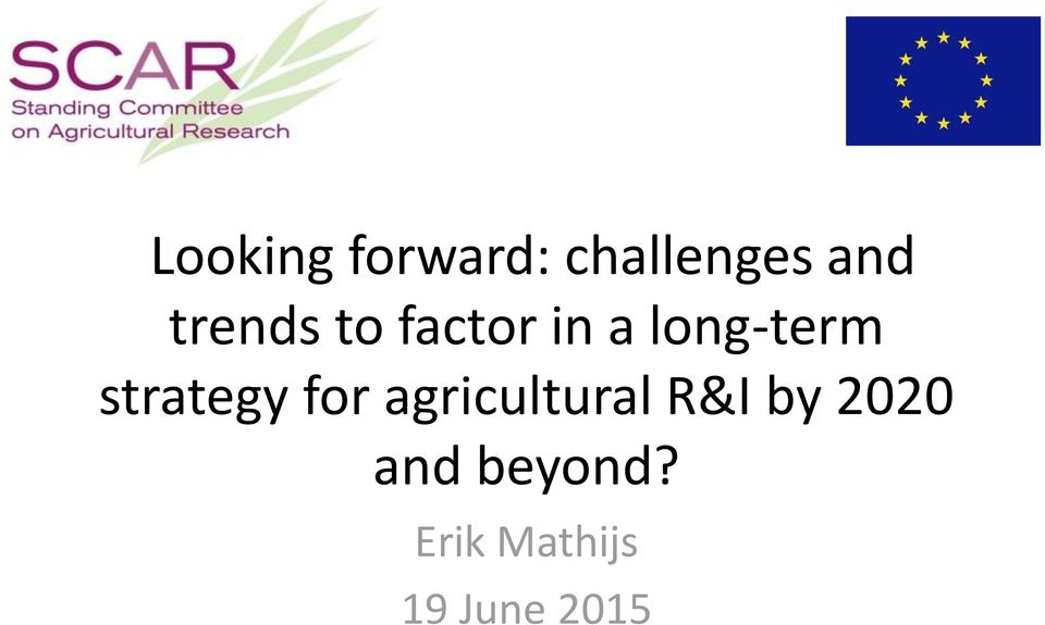 strategy for agricultural R&I by