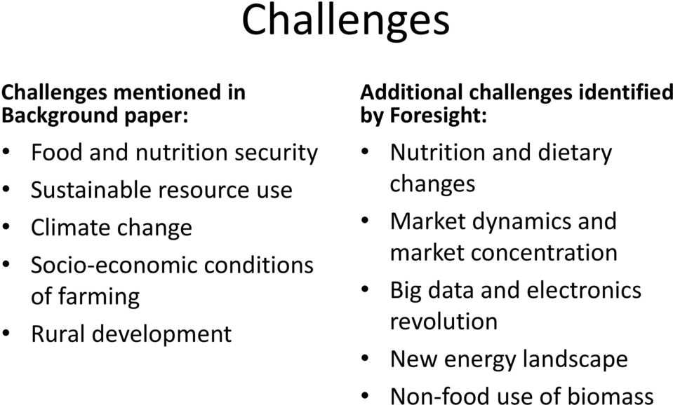 challenges identified by Foresight: Nutrition and dietary changes Market dynamics and market