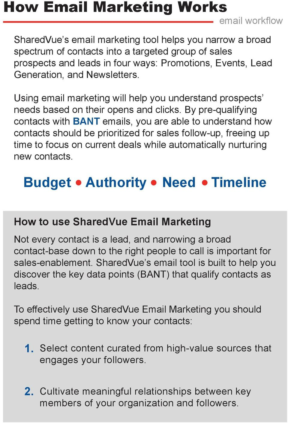 By pre-qualifying contacts with BANT emails, you are able to understand how contacts should be prioritized for sales follow-up, freeing up time to focus on current deals while automatically nurturing
