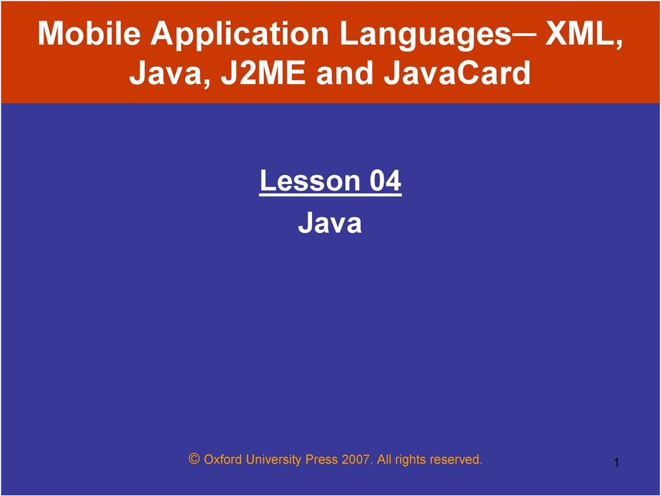 Lesson 04 Java Oxford