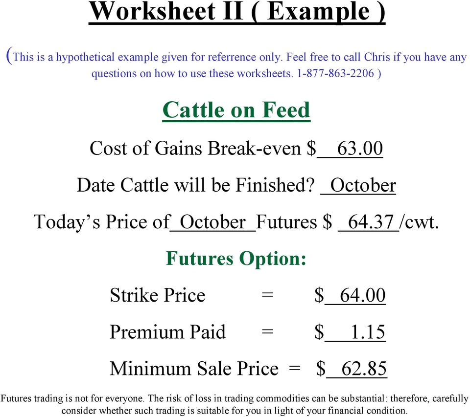 1-877-863-2206 ) Cattle on Feed Cost of Gains Break-even $ 63.00 Date Cattle will be Finished?
