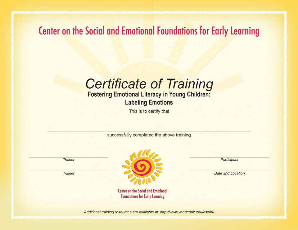 completed the above training Trainer Participant Trainer Date and