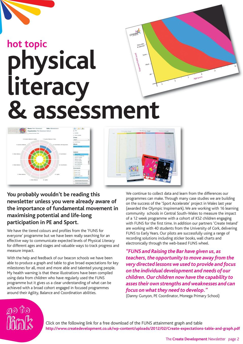 We have the tiered colours and profiles from the FUNS for everyone programme but we have been really searching for an effective way to communicate expected levels of Physical Literacy for different
