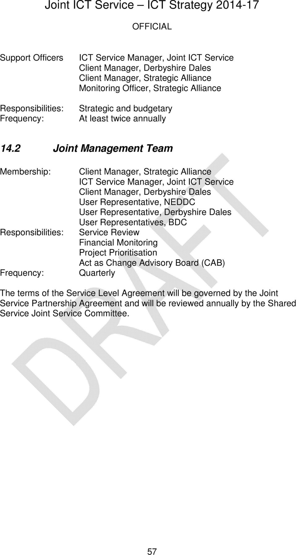 2 Joint Management Team Membership: Responsibilities: Frequency: Client Manager, Strategic Alliance ICT Service Manager, Joint ICT Service Client Manager, Derbyshire Dales User Representative,