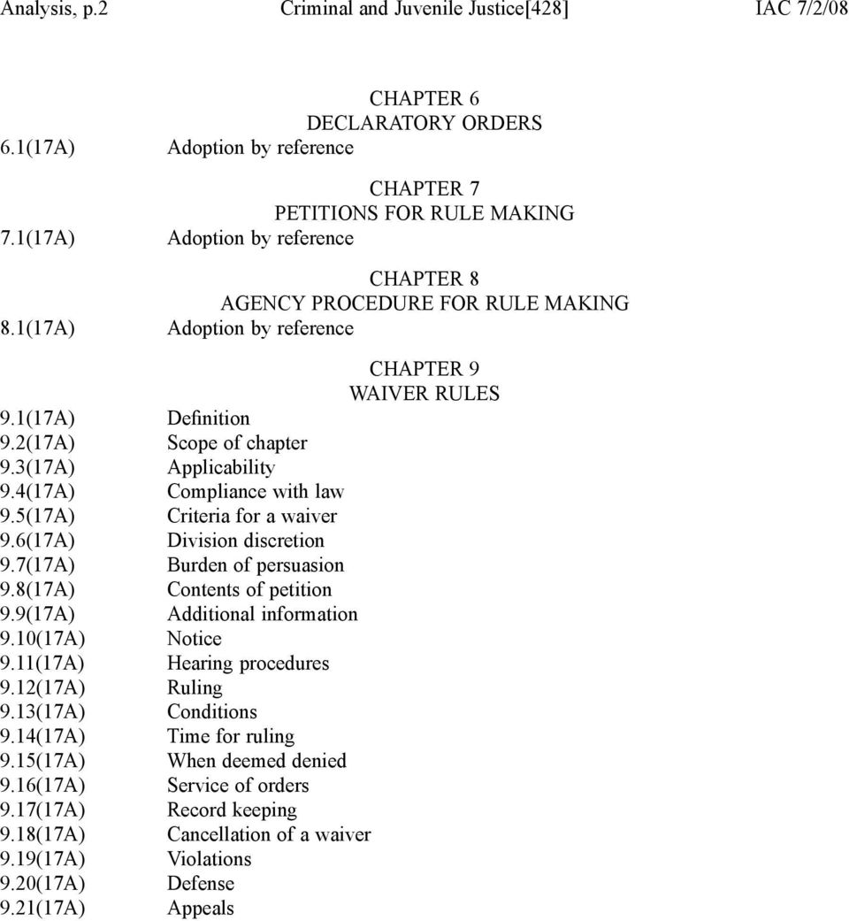 21(17A) CHAPTER 6 DECLARATORY ORDERS Adoption by reference CHAPTER 7 PETITIONS FOR RULE MAKING Adoption by reference CHAPTER 8 AGENCY PROCEDURE FOR RULE MAKING Adoption by reference CHAPTER 9 WAIVER