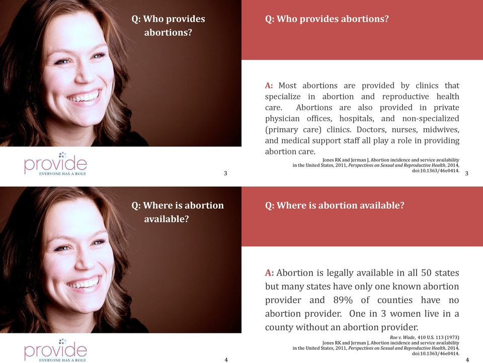 Doctors, nurses, midwives, and medical support staff all play a role in providing abortion care.