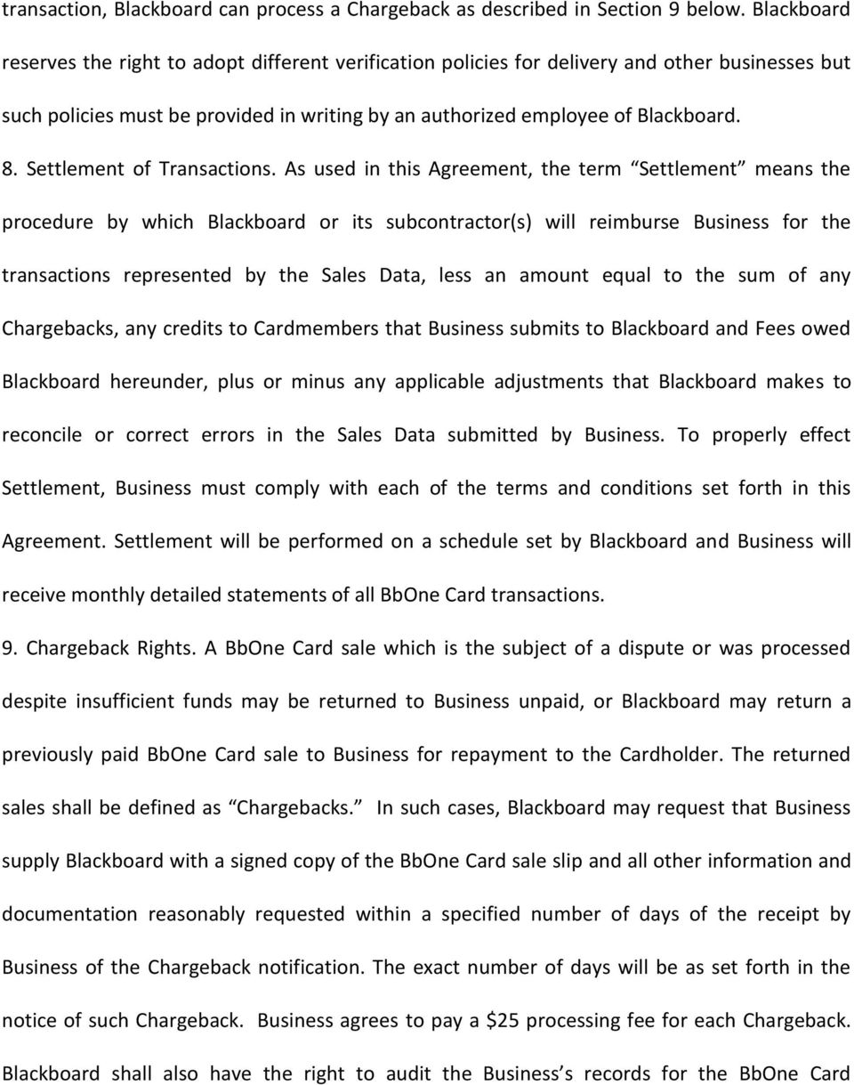 Settlement of Transactions.
