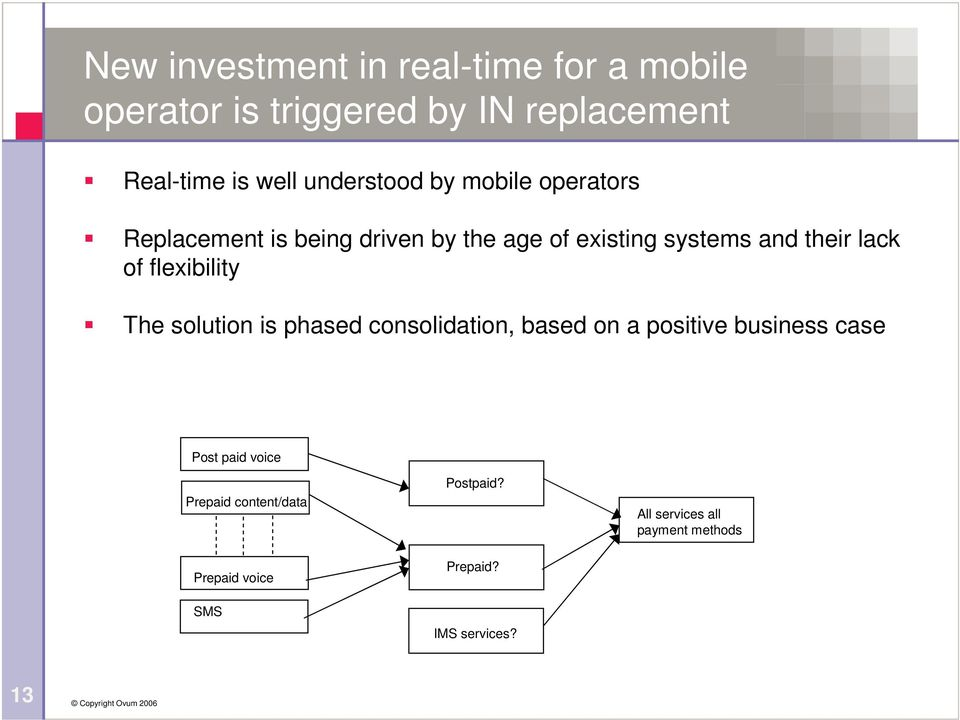 lack of flexibility The solution is phased consolidation, based on a positive business case Post paid
