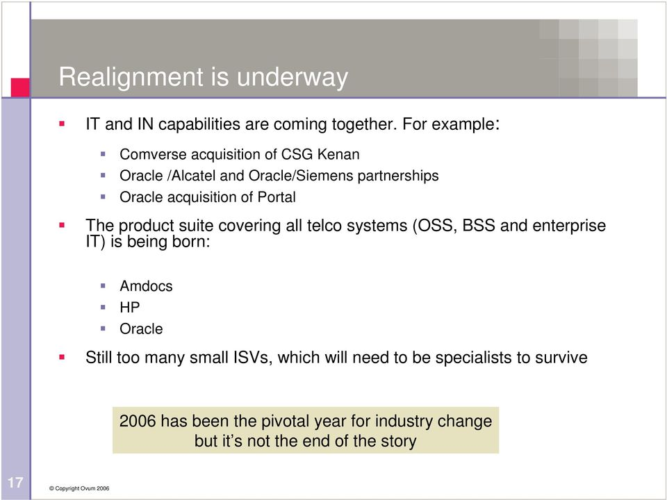 of Portal The product suite covering all telco systems (OSS, BSS and enterprise IT) is being born: Amdocs HP