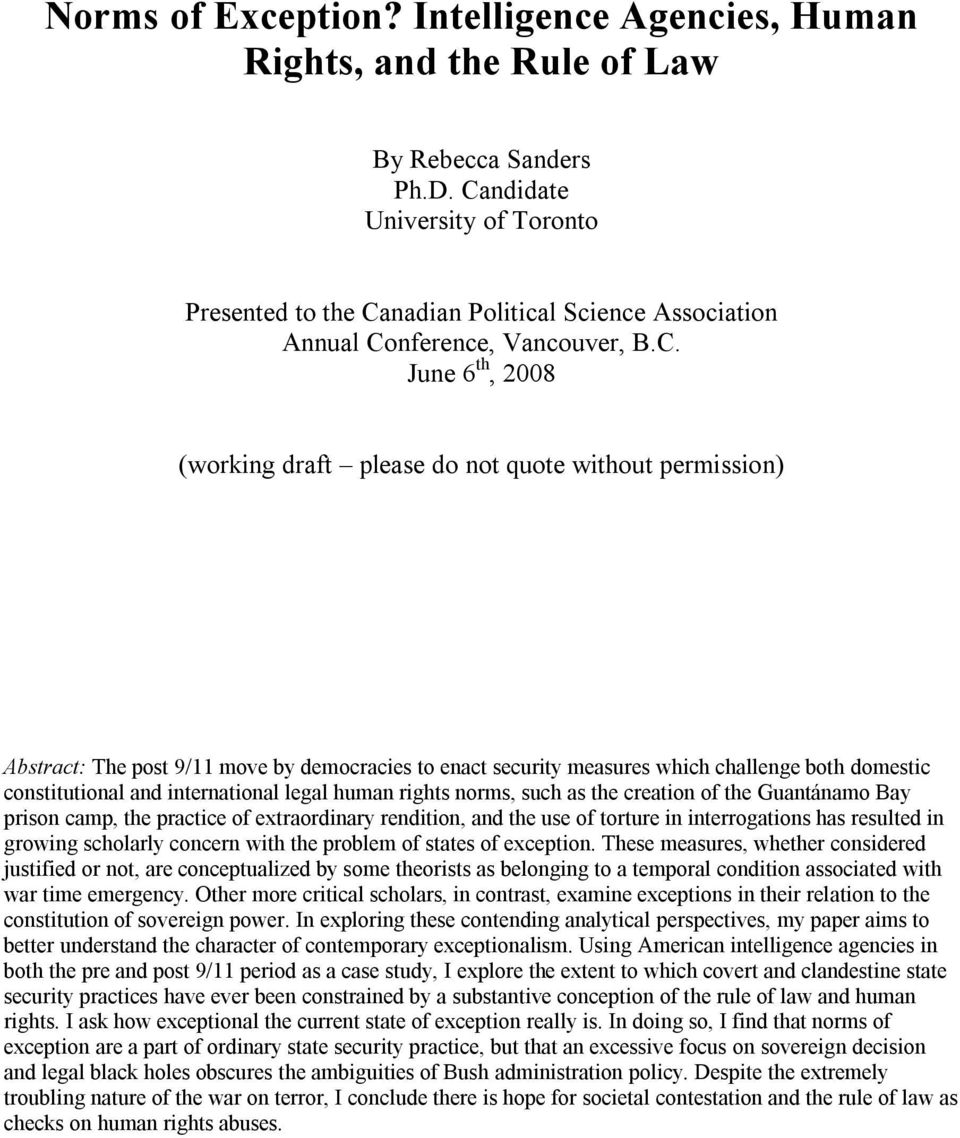 Norms of Exception? Intelligence Agencies, Human Rights, and the