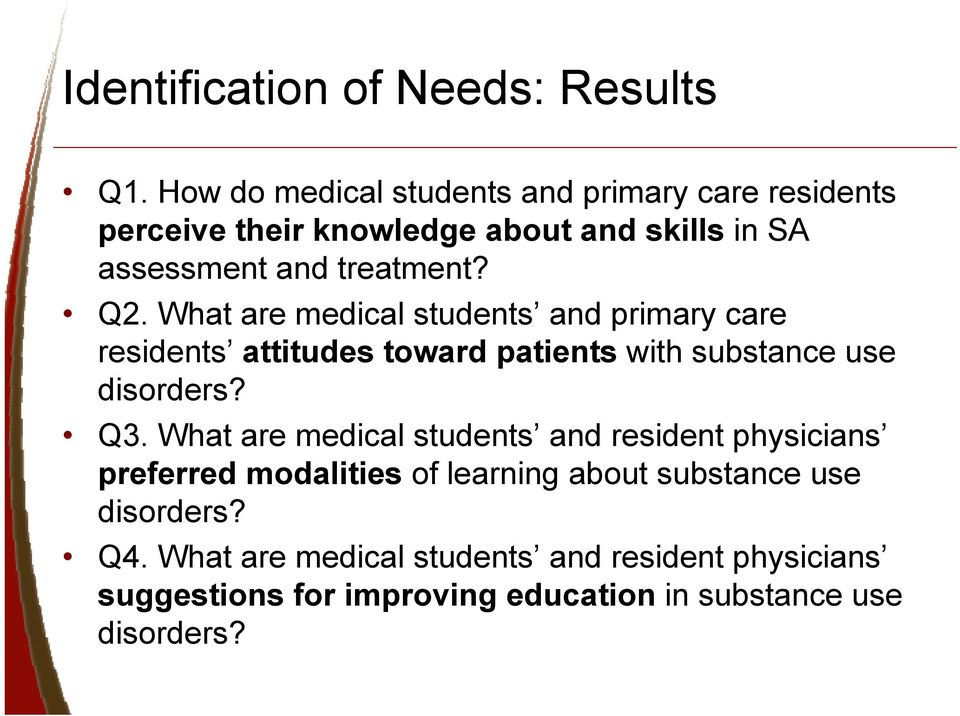 What are medical students and primary care residents attitudes toward patients with substance use disorders? Q3.