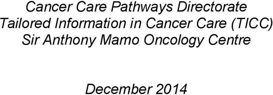 Information in Cancer Care