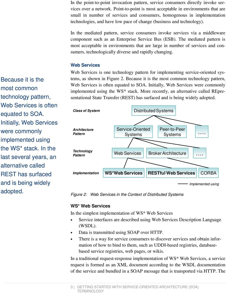 In the mediated pattern, service consumers invoke services via a middleware component such as an Enterprise Bus (ESB).