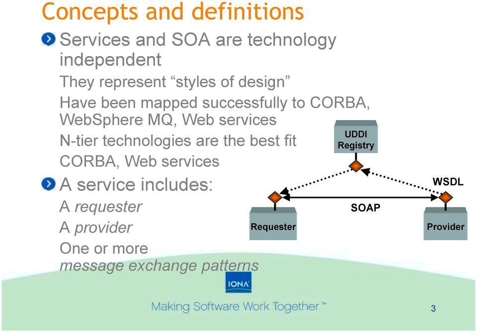 N-tier technologies are the best fit CORBA, Web services A service includes: A