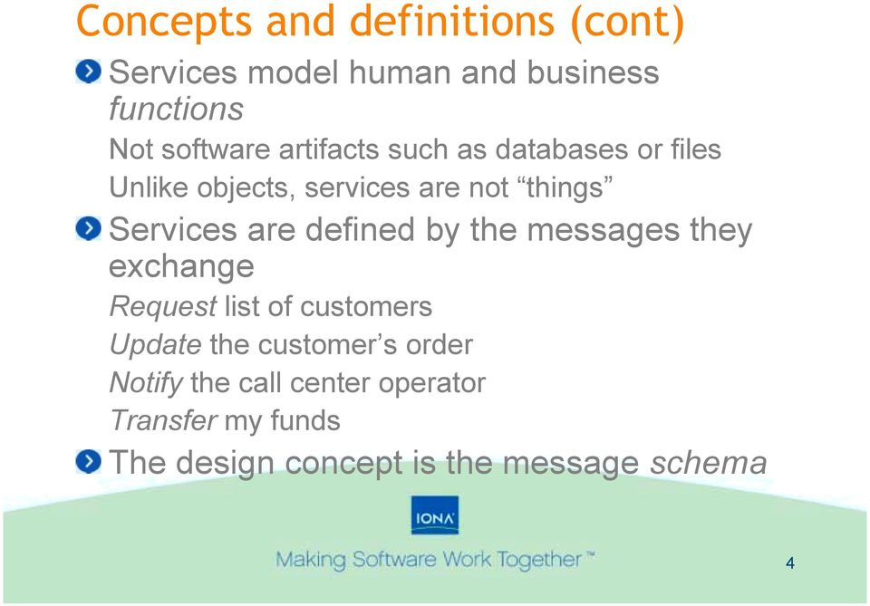 defined by the messages they exchange Request list of customers Update the customer s