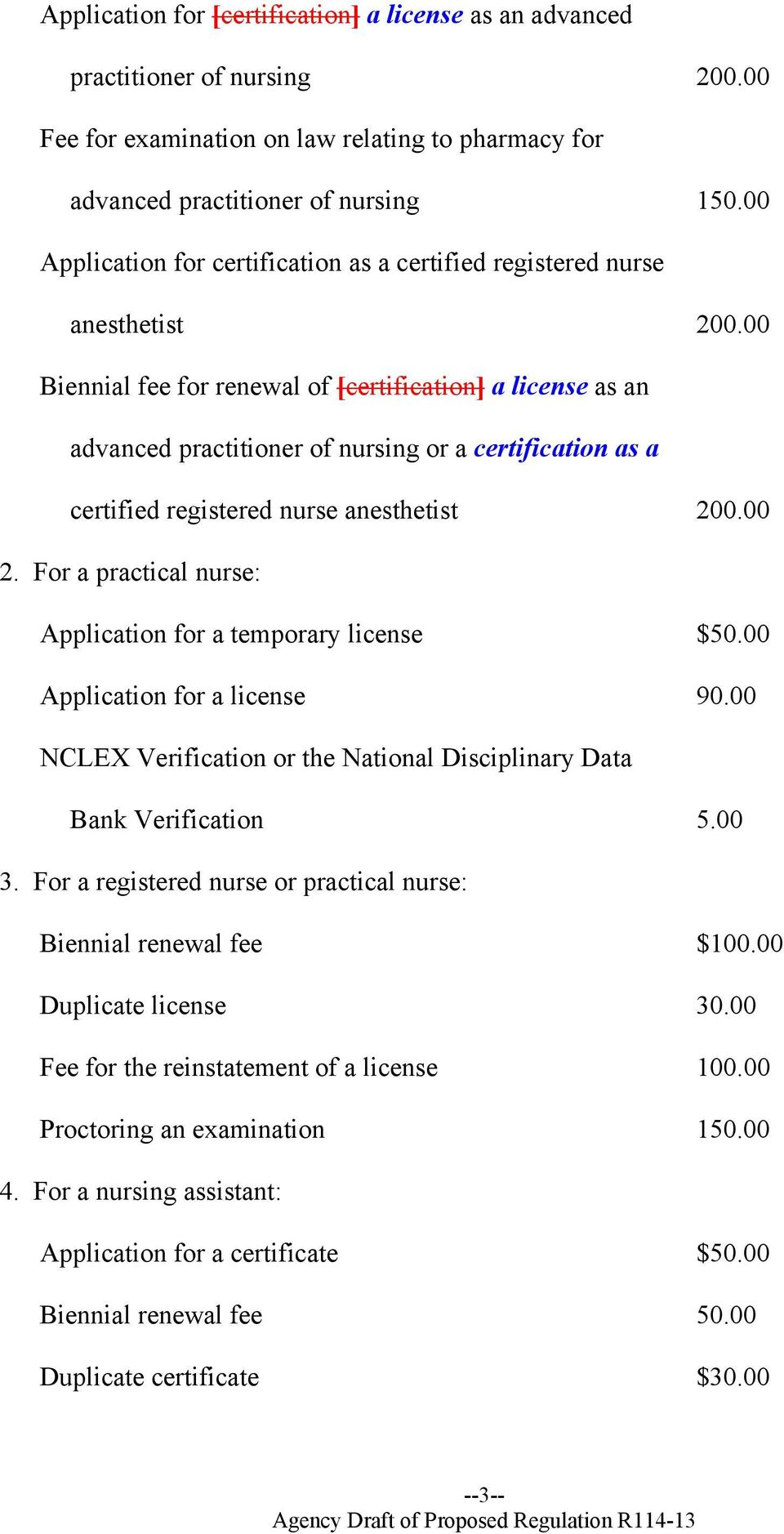 00 Biennial fee for renewal of [certification] a license as an advanced practitioner of nursing or a certification as a certified registered nurse anesthetist 200.00 2.