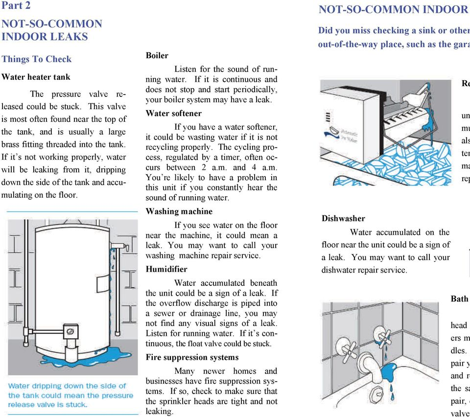 If it s not working properly, water will be leaking from it, dripping down the side of the tank and accumulating on the floor. Boiler Listen for the sound of running water.