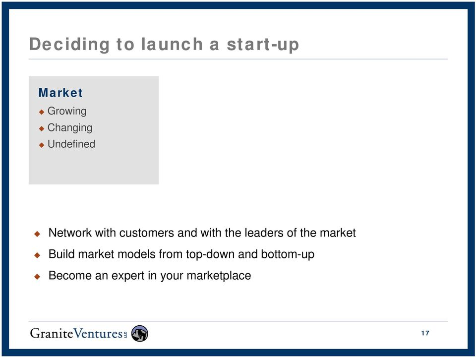 the leaders of the market Build market models from